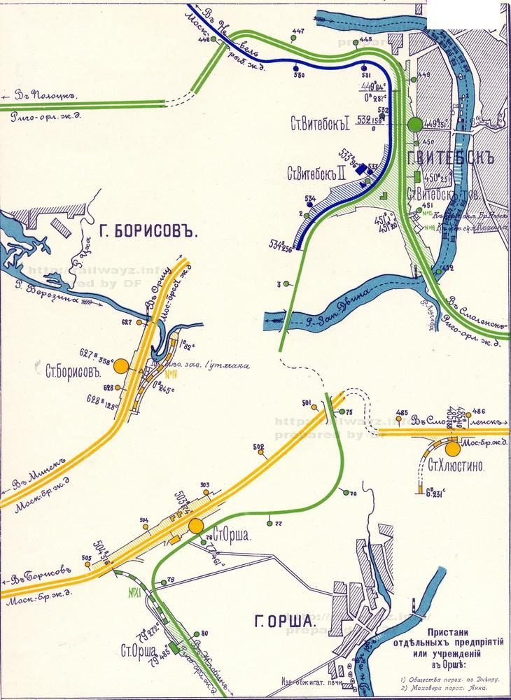 Карта Витебского узла масштаба