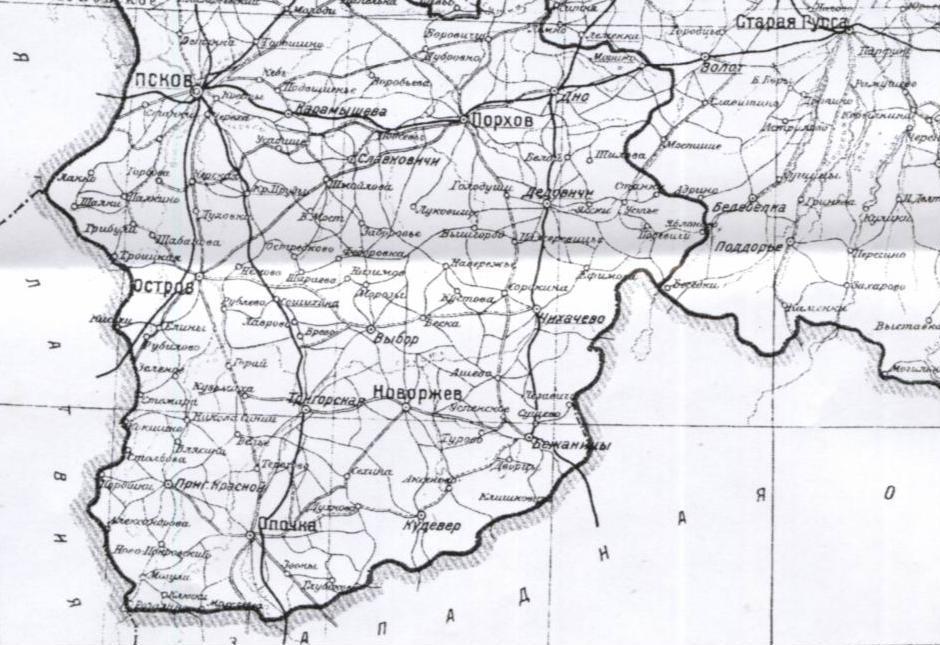 Немецкая карта Псковщины конца